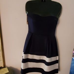 Monteau Strapless Blue/White Dress - S